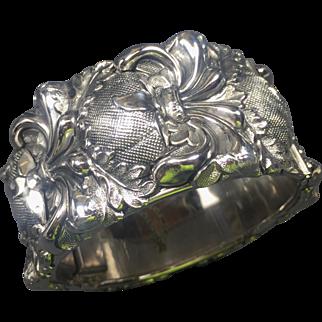 Bold Whiting & Davis Repousse Renaissance Silver Hinged Cuff Bracelet
