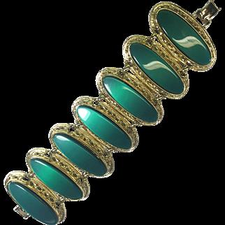 Chunky Bold Green Lucite & Gold Bracelet