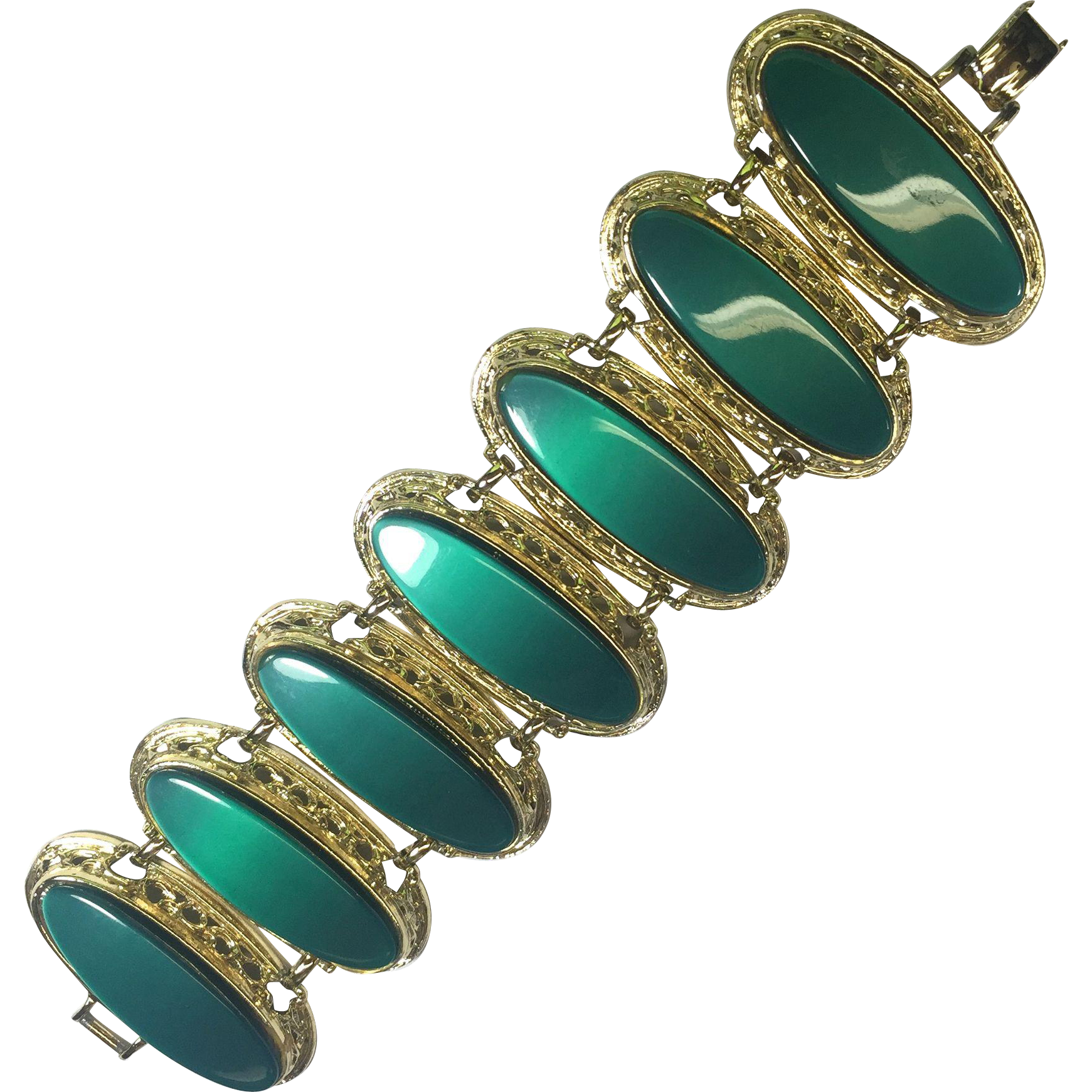 Vintage Bracelet Lucite Bracelet Bold Green & Gold