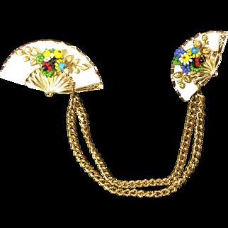 Vintage Fan Double Brooch Chatelaine or Sweater Clips w Seed Bead Flowers