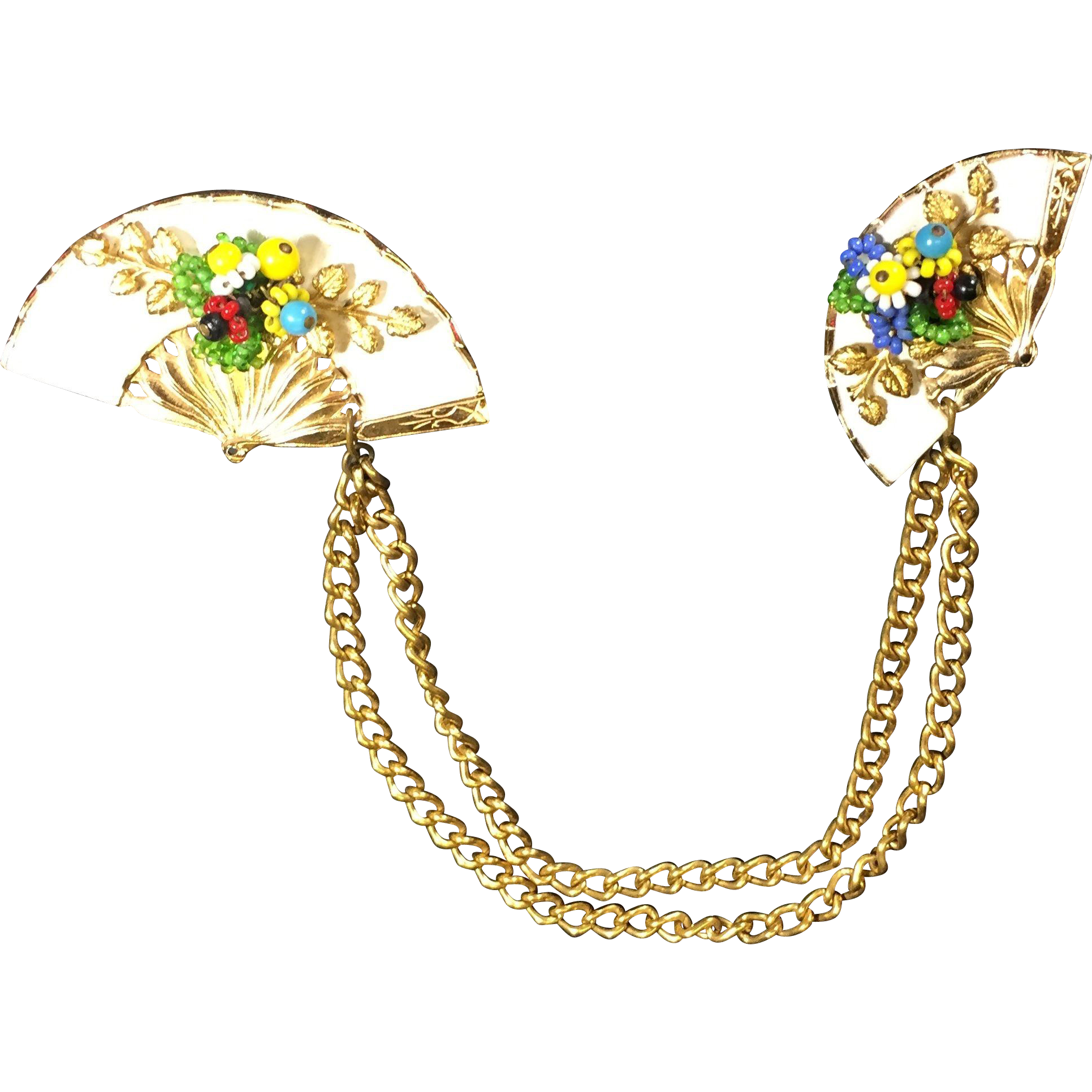 Vintage Fan Double Brooch Chatelaine or Sweater Clips w Seed Bead Flowers