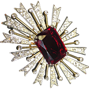 KJL Stunning Atomic Rhinestone Starburst Brooch w Ruby Red Center