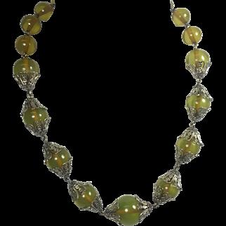 Green Apple Juice Bakelite Bead Necklace w Floral Filigree Caps