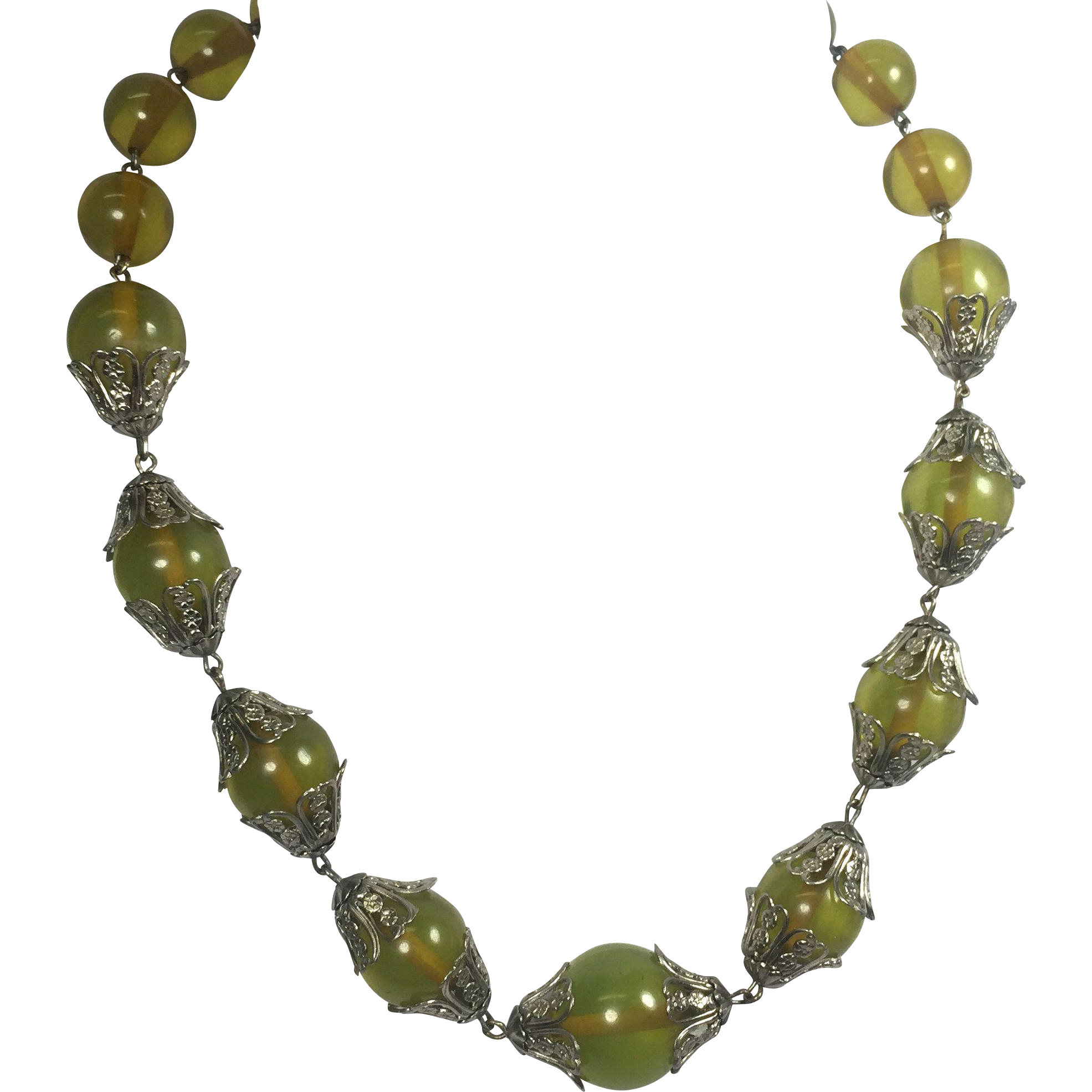 Green Apple Juice Bakelite Bead Necklace w Floral Filigree Caps