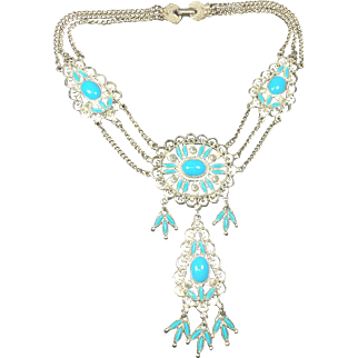 Native American Style Faux Turquoise Festoon Necklace
