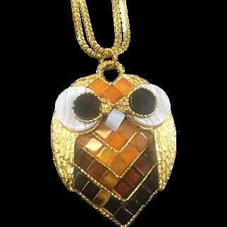 Swoboda Rare Mosaic Glass Owl Pendant Necklace