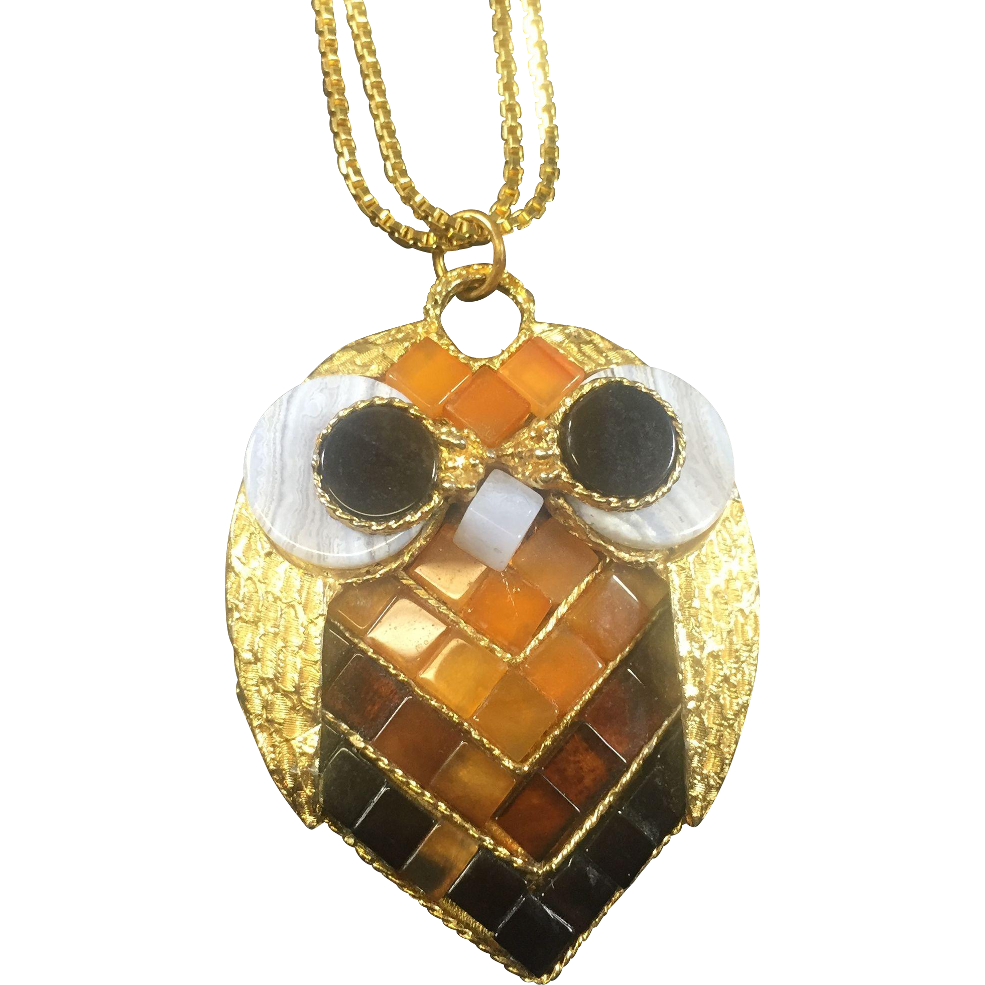 Swoboda Rare Mosaic Glass Owl Pendant Necklace