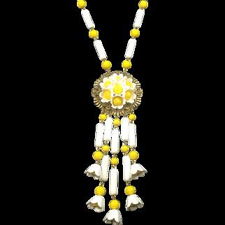 Hippy Boho Style Daisy Necklace w Long Drops