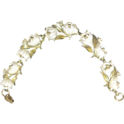 Vintage Floral Bracelet Rhinestones Plastic Flowers