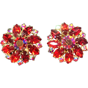 Weiss Red & Pink Aurora Borealis Rhinestone Earrings