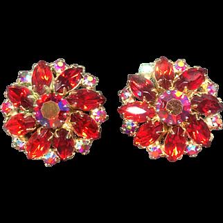 Weiss Red & Pink Aurora Borealis Rhinestone Earrings