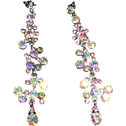 Sparkling Icy Pink Aurora Borealis Shoulder Duster Earrings