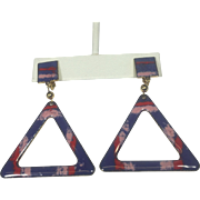 Mod Geometric Triangle Pink & Purple Enamel Dangle Earrings