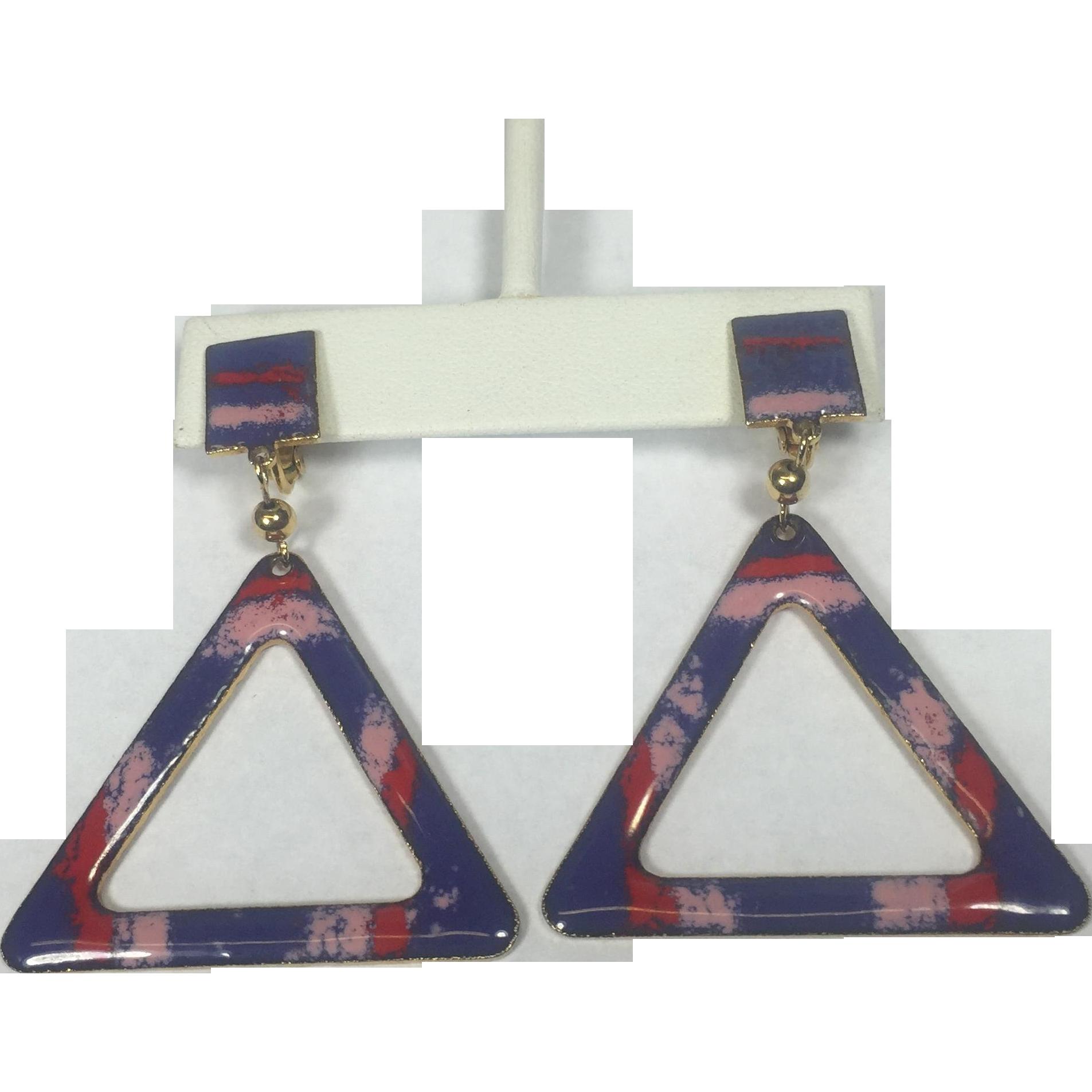 Mod Geometric Triangle Pink & Purple Enamel Dangle Earrings