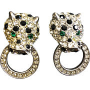 KJL Rhinestone Panther Door Knocker Earrings