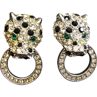KJL Rhinestone Panther Door Knocker Earrings