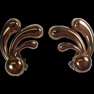 Renoir Mod Spray Copper Earrings