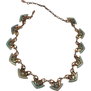 Matisse Renoir Copper & Turquoise Enamel Geometric Mod Necklace