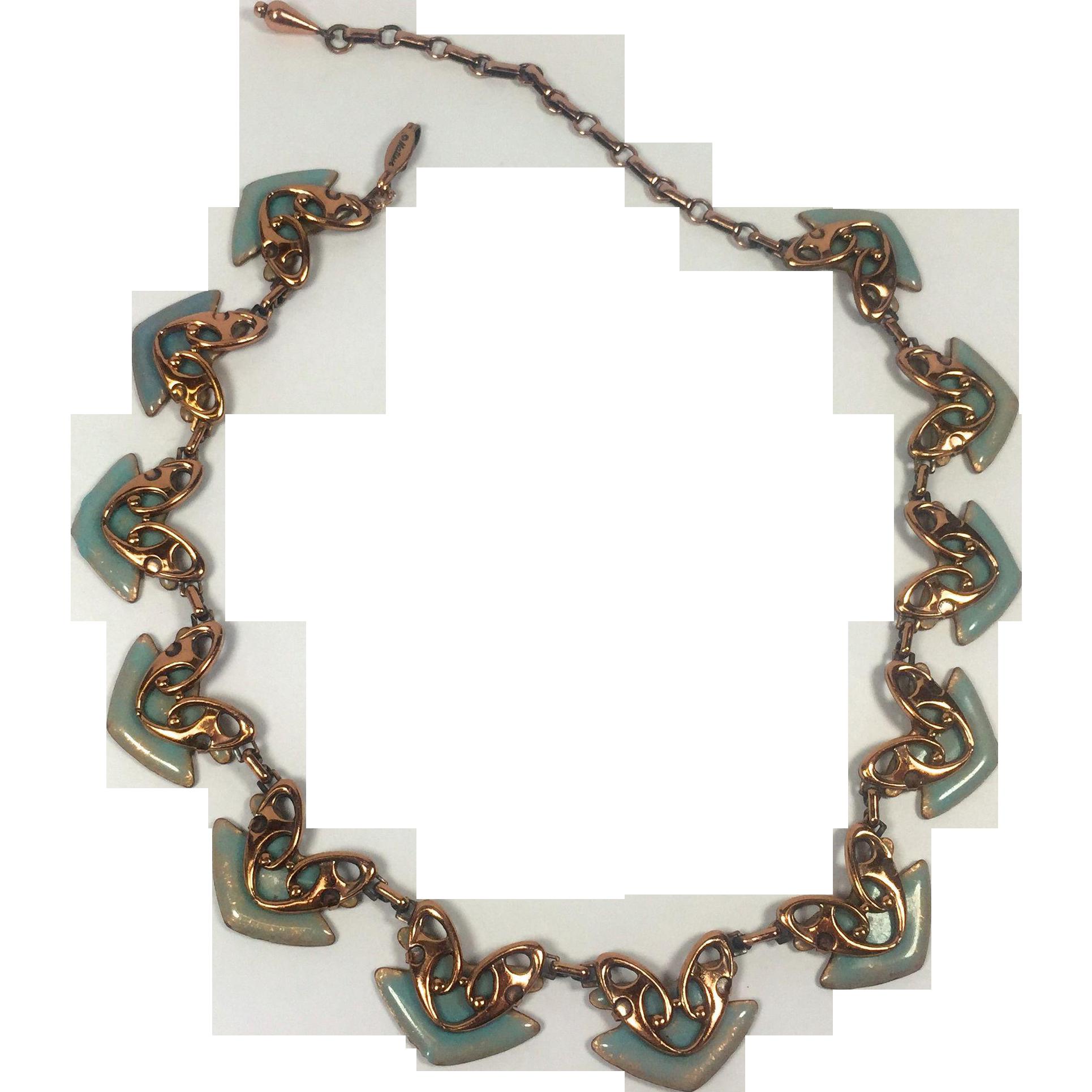 Matisse Renoir Copper & Turquoise Enamel Geometric Mod Necklace