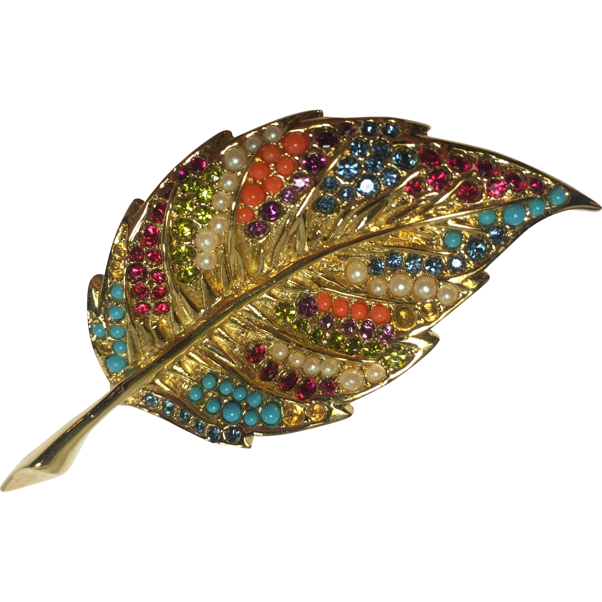 Colorful Detailed Rhinestone & Faux Pearl D'orlan Leaf Pin