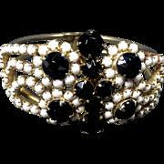 Vintage Chic Black & White Rhinestone Hinged Clamper Bracelet