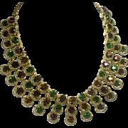 Dramatic Rhinestone Collar Necklace in Jewel Tones