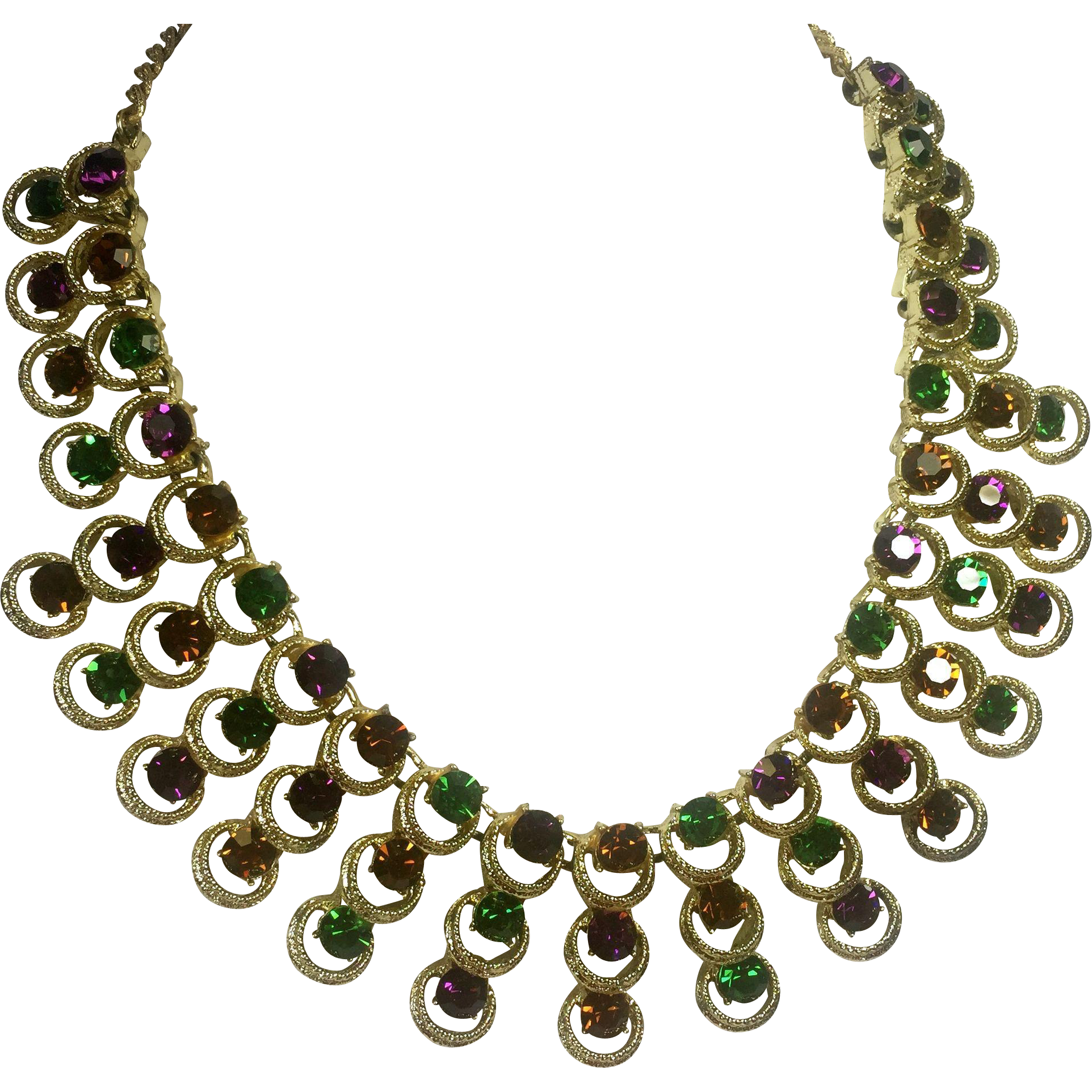 Dramatic Rhinestone Collar Necklace in Jewel Tones