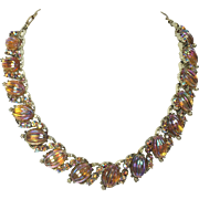 1950's Coro Amber Aurora Borealis Melon Glass Necklace