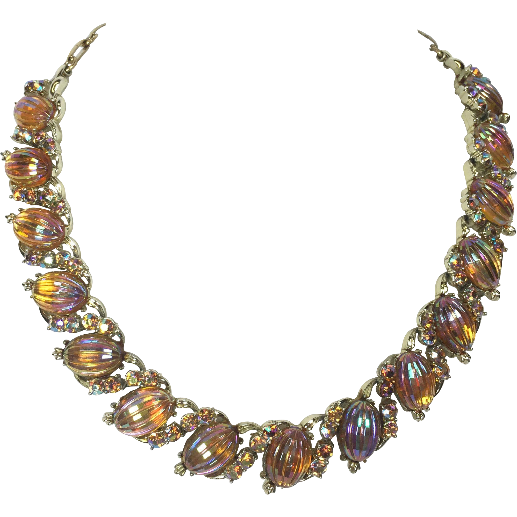 Vintage Art Glass Necklace by Coro Amber Rhinestone