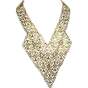 Sleek Golden Filigree Collar / Bib Necklace