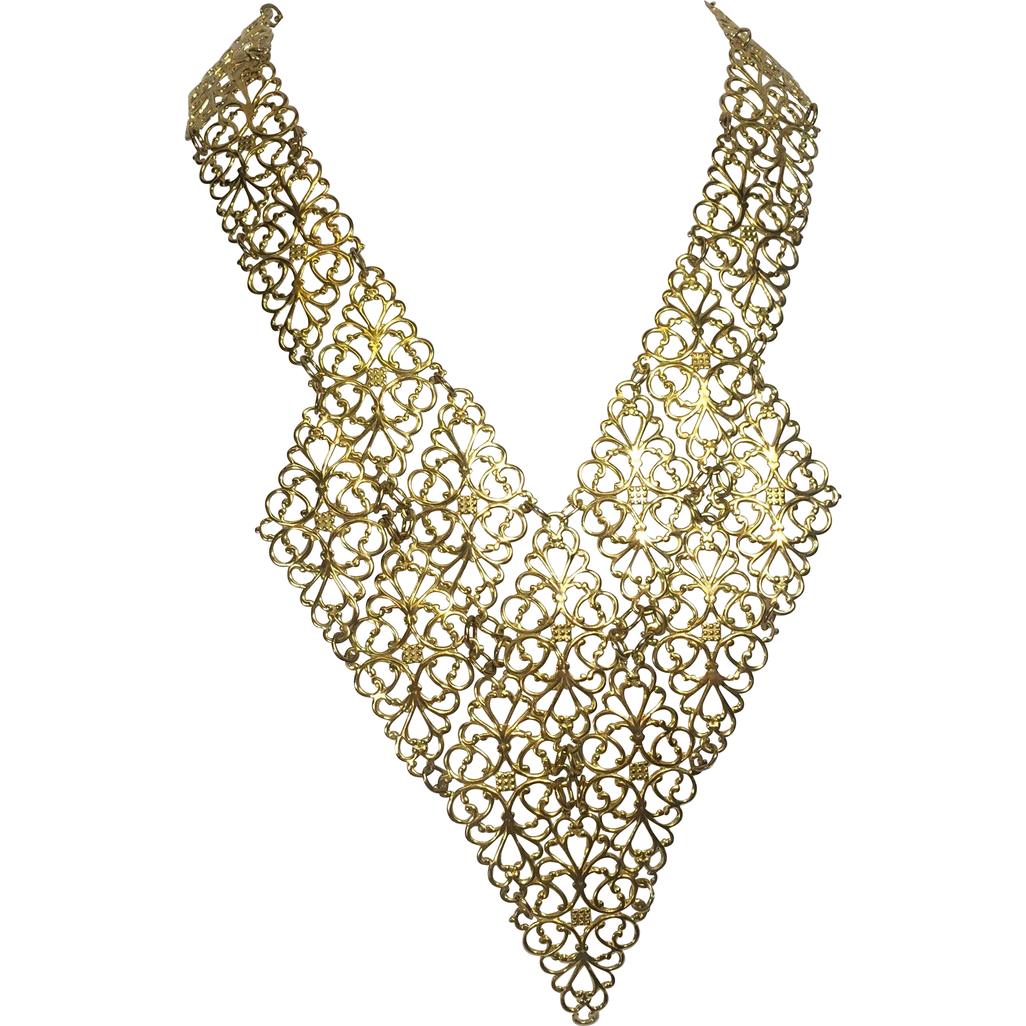 Sleek Golden Filigree Collar / Bib Necklace