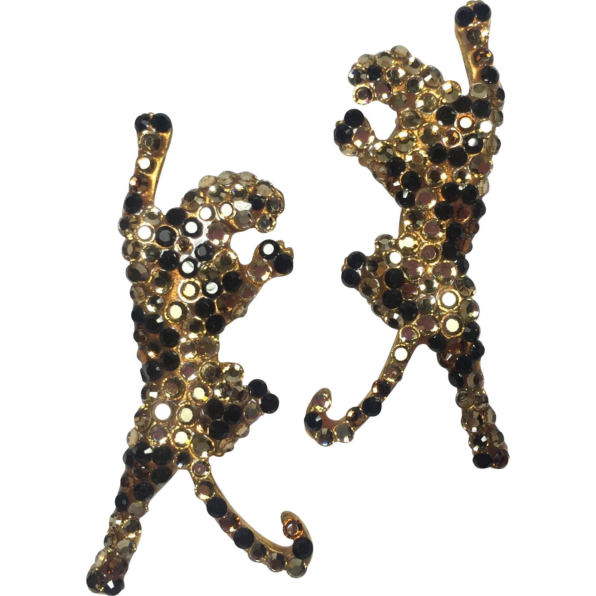 JJ Spotted Leopard Rhinestone Earrings
