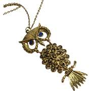 Hinged Articulated Owl Necklace w Blue Glass Eyes & Filigree Body