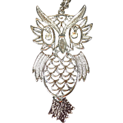Articulated Owl Necklace w Large Dangling Rhinestone Eyes