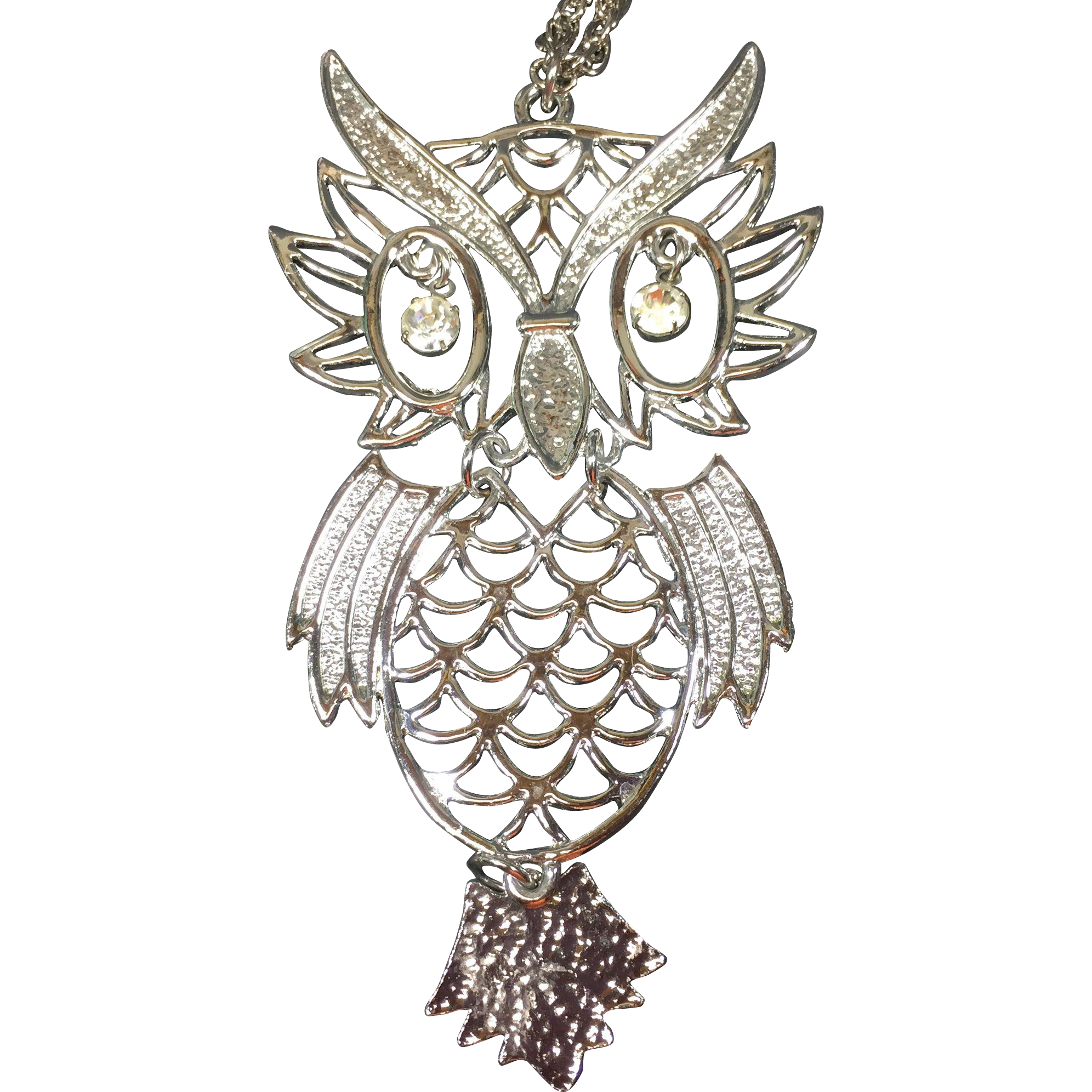 Vintage Owl Necklace Articulated w Rhinestone Eyes