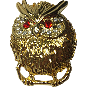 Puffed Up Owl Brooch w Rhinestone Paved Eyes
