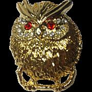 Puffed Up Owl Brooch w Rhinestone Paved Eyes