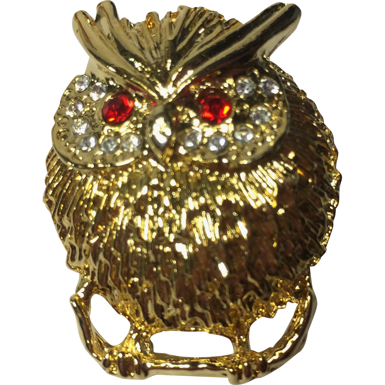 Vintage Owl Brooch Pin w Rhinestone Paved Eyes