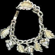 Vintage Acorn & Leaves Charm Bracelet