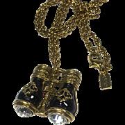 Miniature French Opera Binocular Pendant Necklace w Large Rhinestones by 1928