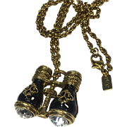 Miniature French Opera Binocular Pendant Necklace w Large Rhinestones by 1928