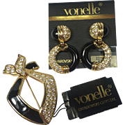 Mod Swarovski Rhinestone Black Enamel Brooch & Earrings by Vonelle