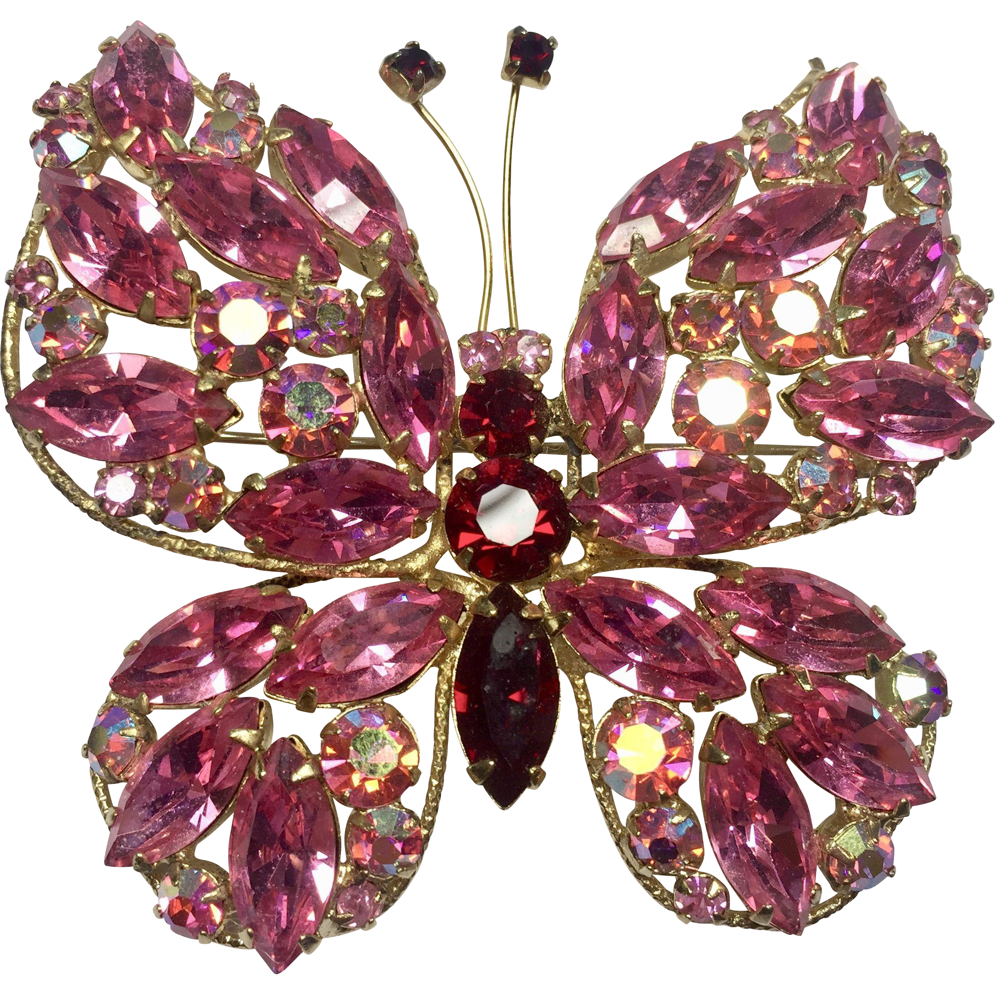 Large Hot Pink & Red Rhinestone Butterfly by Regency