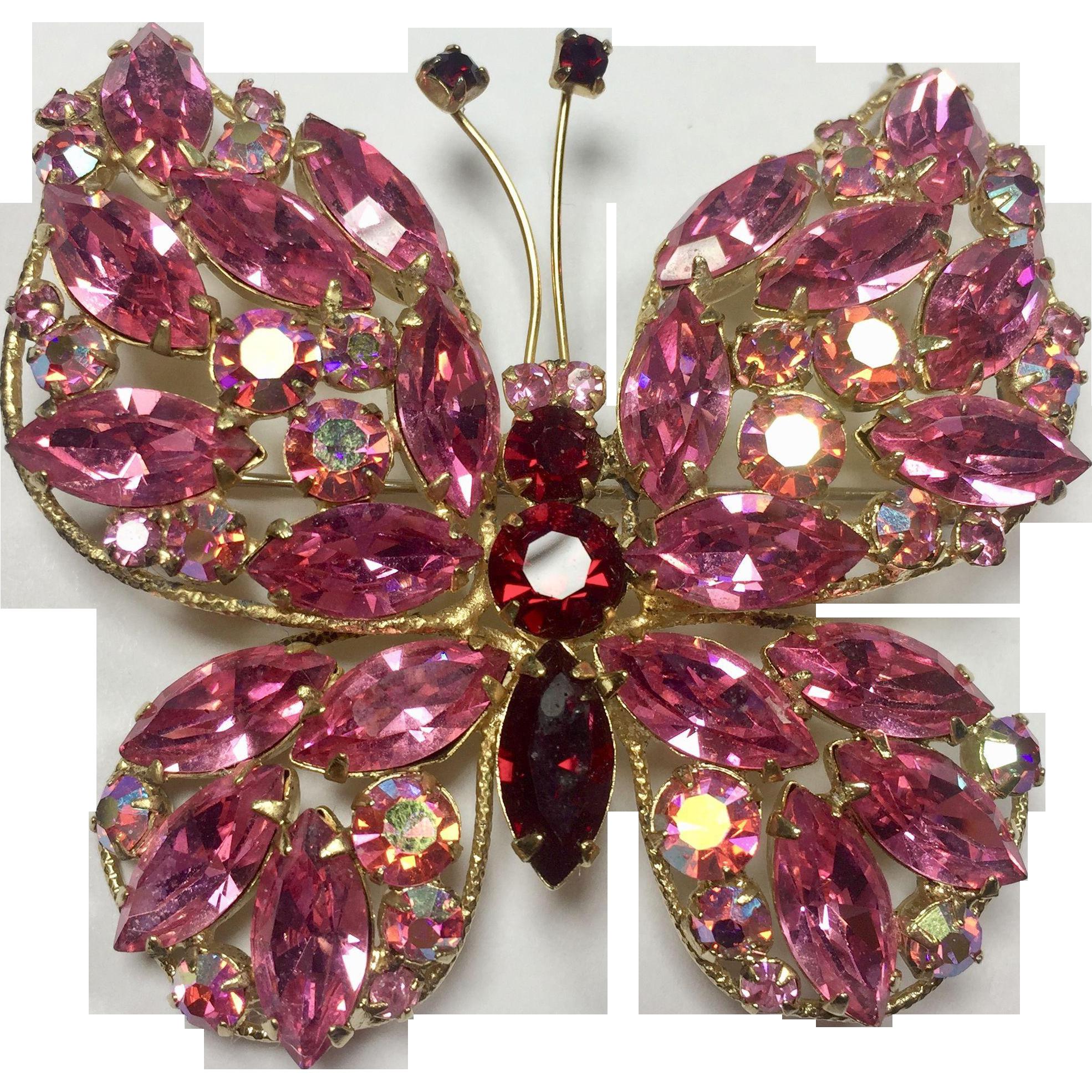 Large Hot Pink & Red Rhinestone Butterfly by Regency