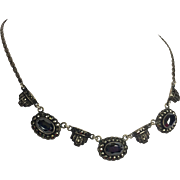 Art Deco Sterling Silver & Marcasite Necklace w Hematite Stones