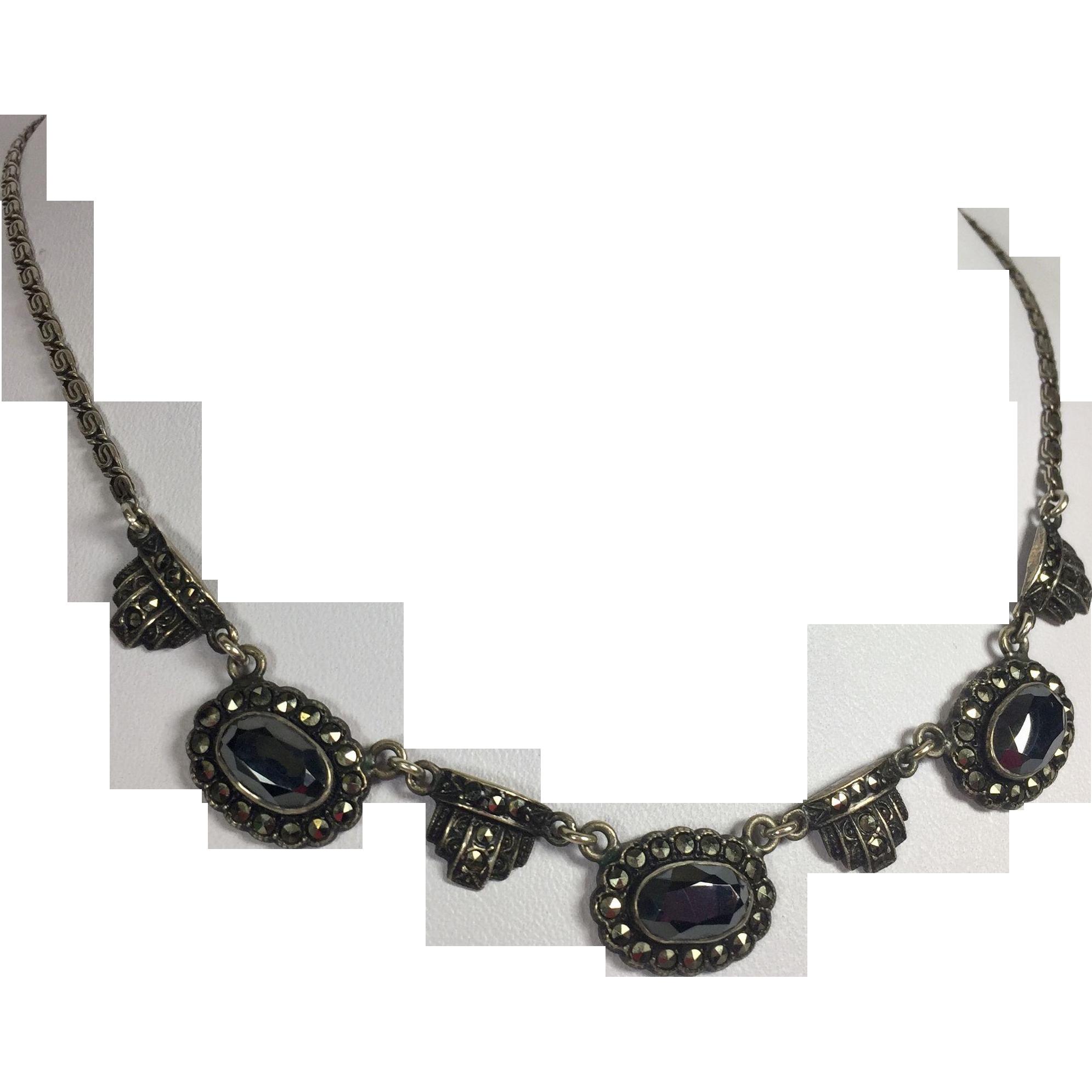 Art Deco Sterling Silver & Marcasite Necklace w Hematite Stones