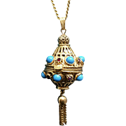 Victorian Style Perfume Pill Box Pendant Necklace by FLORENZA
