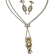 Victorian Nouveau Style Festoon Pendant Necklace & Earrings by ART