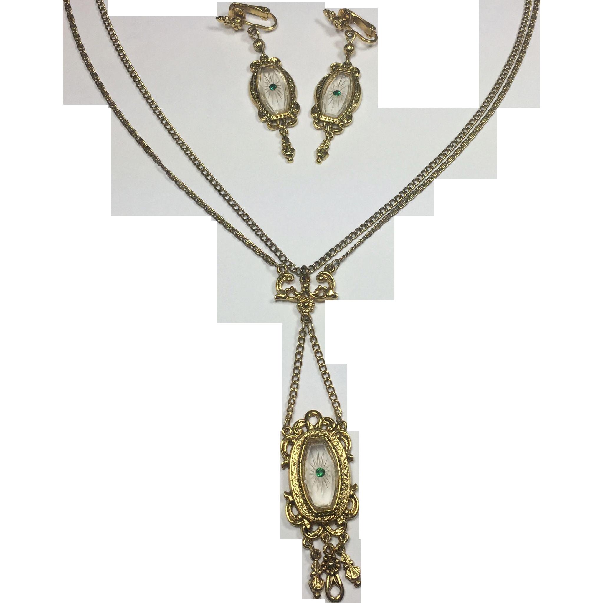 Victorian Nouveau Style Festoon Pendant Necklace & Earrings by ART