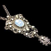 Victorian Renaissance Style Opal Rhinestone Pendant Necklace